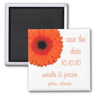 Orange Gerbera  Save the Date Square Magnet