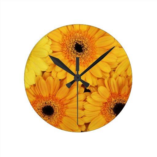 Orange Gerberas Round Wall Clock