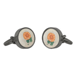 Orange Gerberas Floral Monogram Gunmetal Finish Cufflinks
