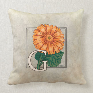 Orange Gerberas Floral Monogram Throw Pillow
