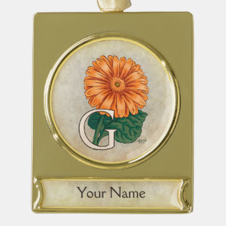 Orange Gerberas Personalized Floral Monogram Gold Plated Banner Ornament