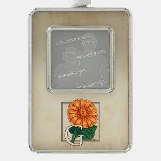 Orange Gerberas Personalized Floral Monogram Silver Plated Framed Ornament