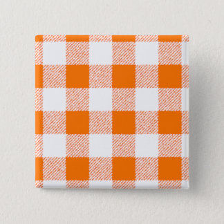 orange gingham check 15 cm square badge