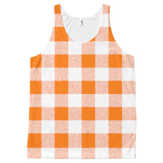 orange gingham check All-Over print tank top