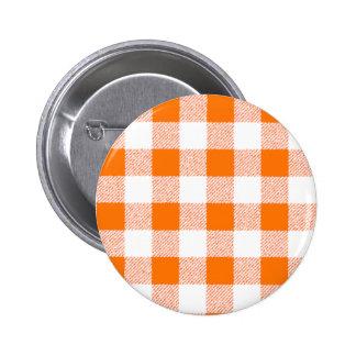 Orange Gingham Check Pattern 6 Cm Round Badge