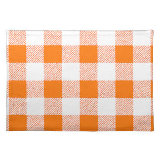 orange gingham check placemat
