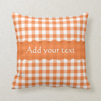 Orange Gingham Checkered  Pattern Personalized Cushion