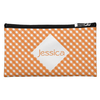 Orange Gingham Cosmetic Bag