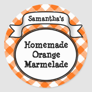 Orange Gingham Marmelade, Jelly, Jam Jar/Lid Label