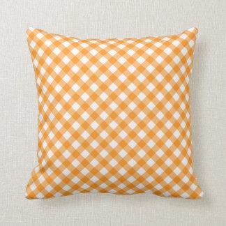 Orange gingham pattern checkered checkers throw pillow