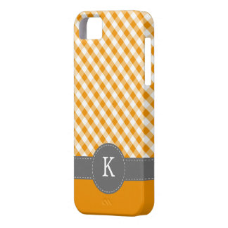 Orange Gingham Pattern Custom Monogram Case For The iPhone 5