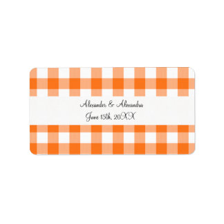 Orange gingham pattern wedding favors address label
