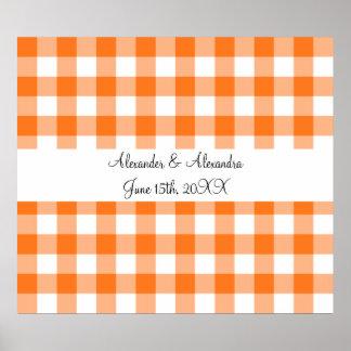 Orange gingham pattern wedding favors print