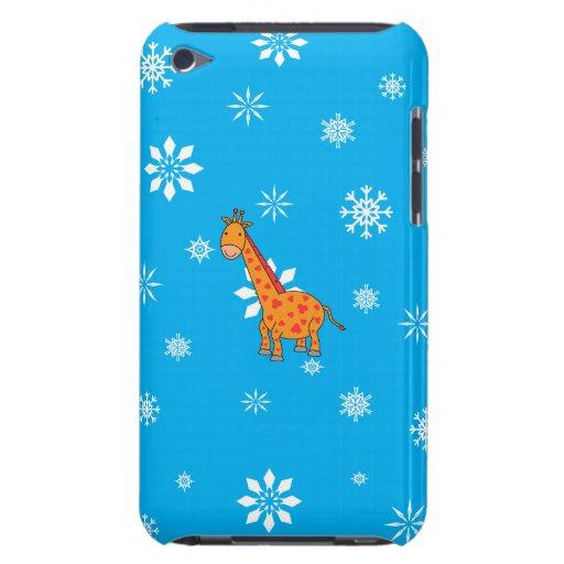 Orange giraffe blue and white snowflakes Case-Mate iPod touch case