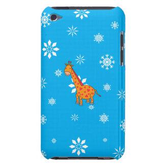 Orange giraffe blue and white snowflakes iPod Case-Mate cases