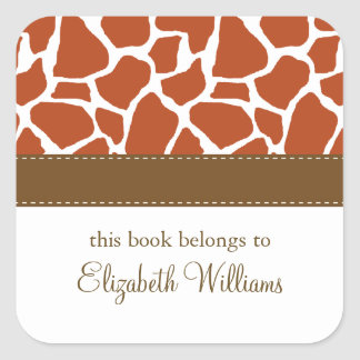 Orange Giraffe Pattern Square Sticker