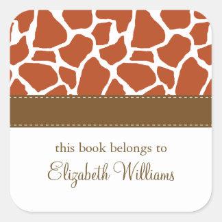 Orange Giraffe Pattern Square Sticker
