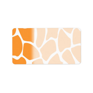 Orange Giraffe Print Pattern. Address Label