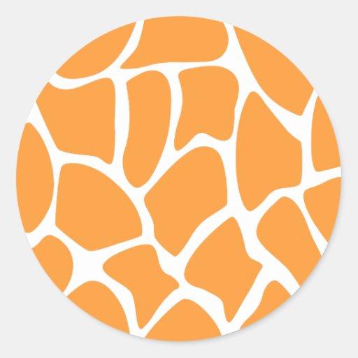 Orange Giraffe Print Pattern. Round Sticker