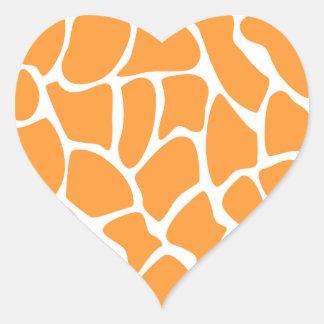Orange Giraffe Print Pattern Heart Sticker