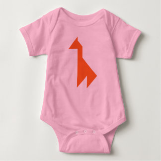 Orange giraffe Tangram Baby Bodysuit