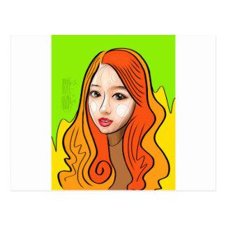 Orange Girl portrait concept Postcard
