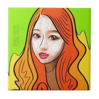 Orange Girl portrait concept Tile