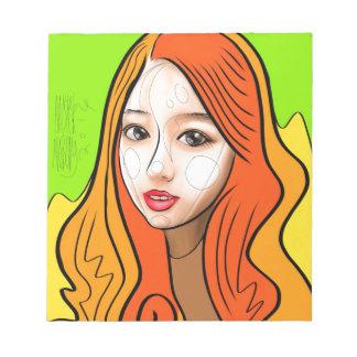 Orange girl portrait notepad
