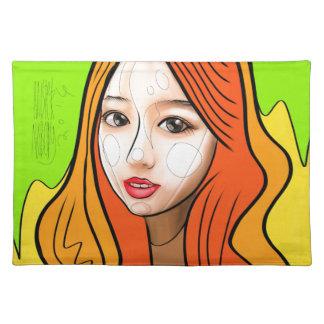 Orange girl portrait placemat