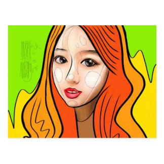 Orange girl portrait postcard