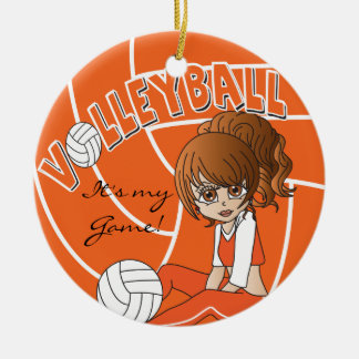 Orange Girly Volleyball Christmas Ornaments