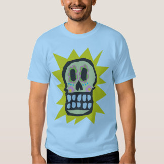 Orange Glow Day of the Dead Halloween Skull Tshirts