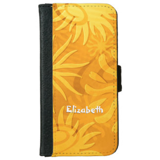 orange gold abstract sun shapes iPhone 6 wallet case