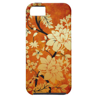 Orange, Gold and Black Floral Oriental Design iPhone 5 Cover