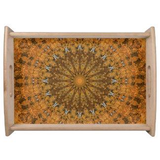 Orange, Gold and Brown Mandala Kaleidoscope Serving Tray