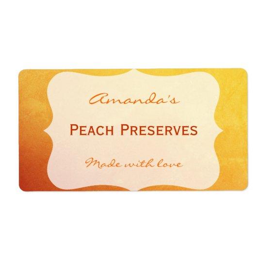 Orange&Gold Personalised Canning Label