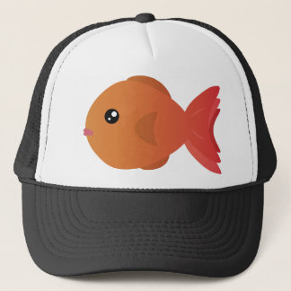 Orange Goldfish Cartoon Trucker Hat