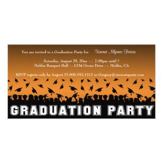 Orange Gradient Graduation Party Silhouette Invite Photo Cards