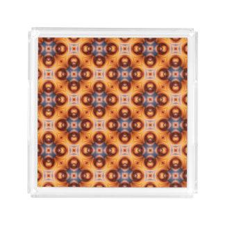 Orange Gradient Retro Mosaic Pattern Acrylic Tray