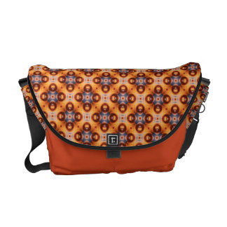 Orange Gradient Retro Mosaic Pattern Messenger Bag