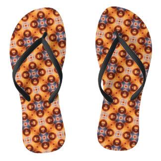 Orange Gradient Retro Mosaic Pattern Thongs