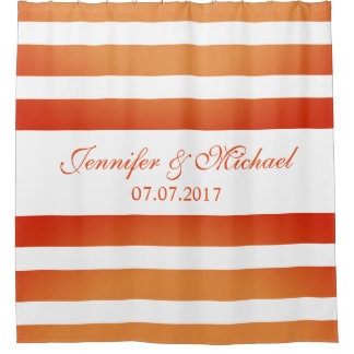 Orange Gradient Stripes Personalized Names Wedding Shower Curtain