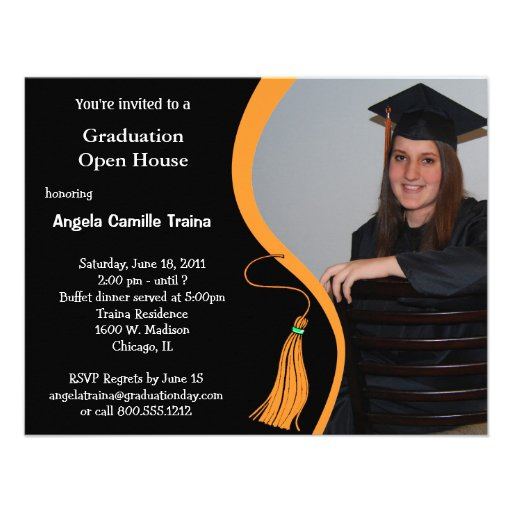 Orange Graduation Announcement Open House