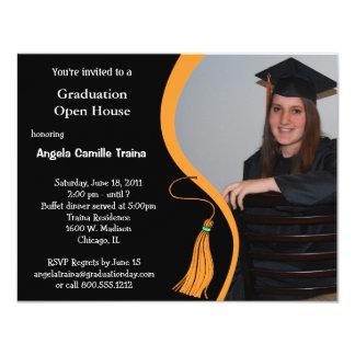 "Orange Graduation Announcement Open House 4.25"" X 5.5"" Invitation Card"