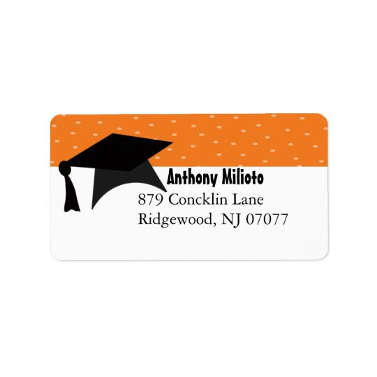 Orange Graduation Cap Label