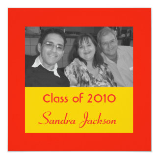 "orange graduation 5.25"" square invitation card"