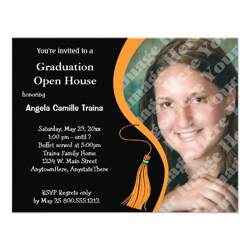 Orange Graduation Open House Invitation