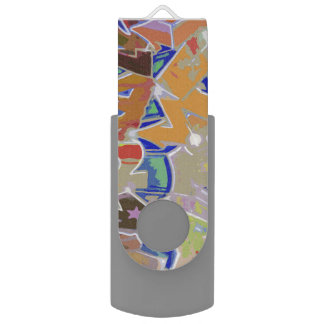 Orange Graffiti Design Flash Drive