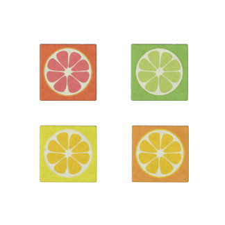 Orange Grapefruit Lemon Lime Citrus Fruit Slice Stone Magnet