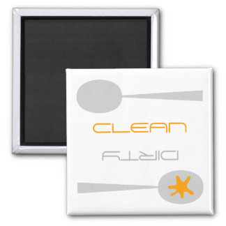 Orange, Gray and White, Clean or Dirty Dishwasher Magnet